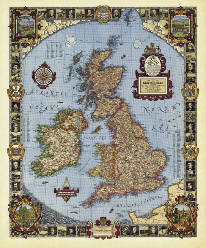 National Geographic  A Modern Pilgrim's Map of the British Isles Wall Map - Pub 1937